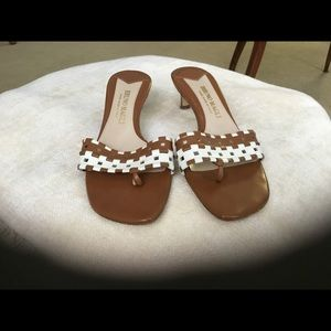 Bruno Magli Italy Brown & White Heels